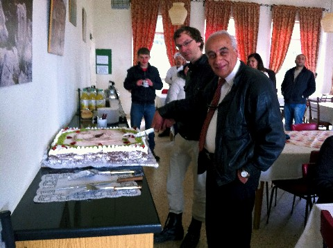 André and Rolland Cutting the Cake
